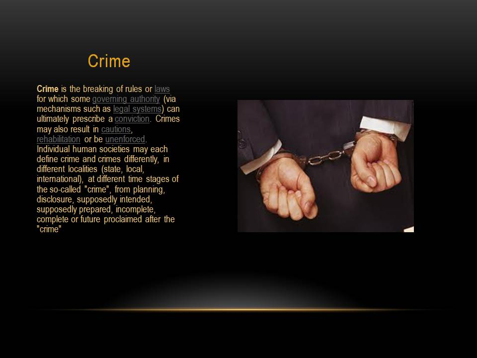 define crime Crime definition, meaning, what is crime: illegal activities: learn more.