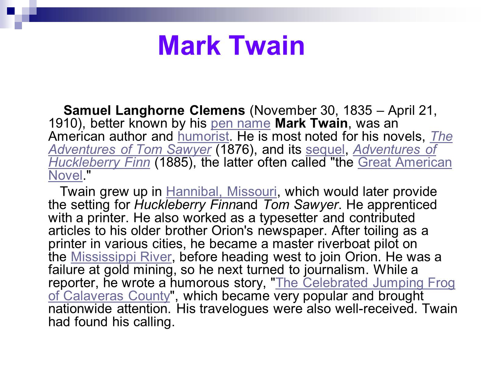 a biography of mark twain the greatest american author