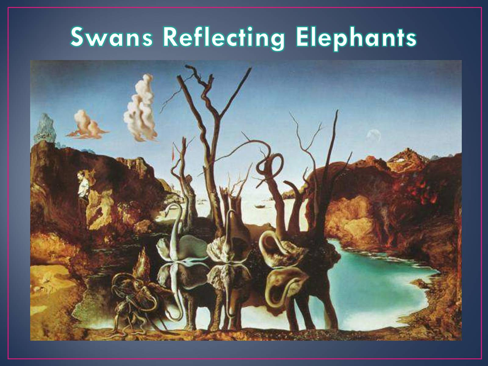 swans reflecting elephants artist
