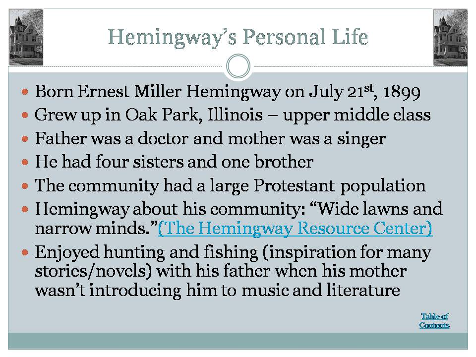 a biography and life work of ernest hemingway in oak park illinois