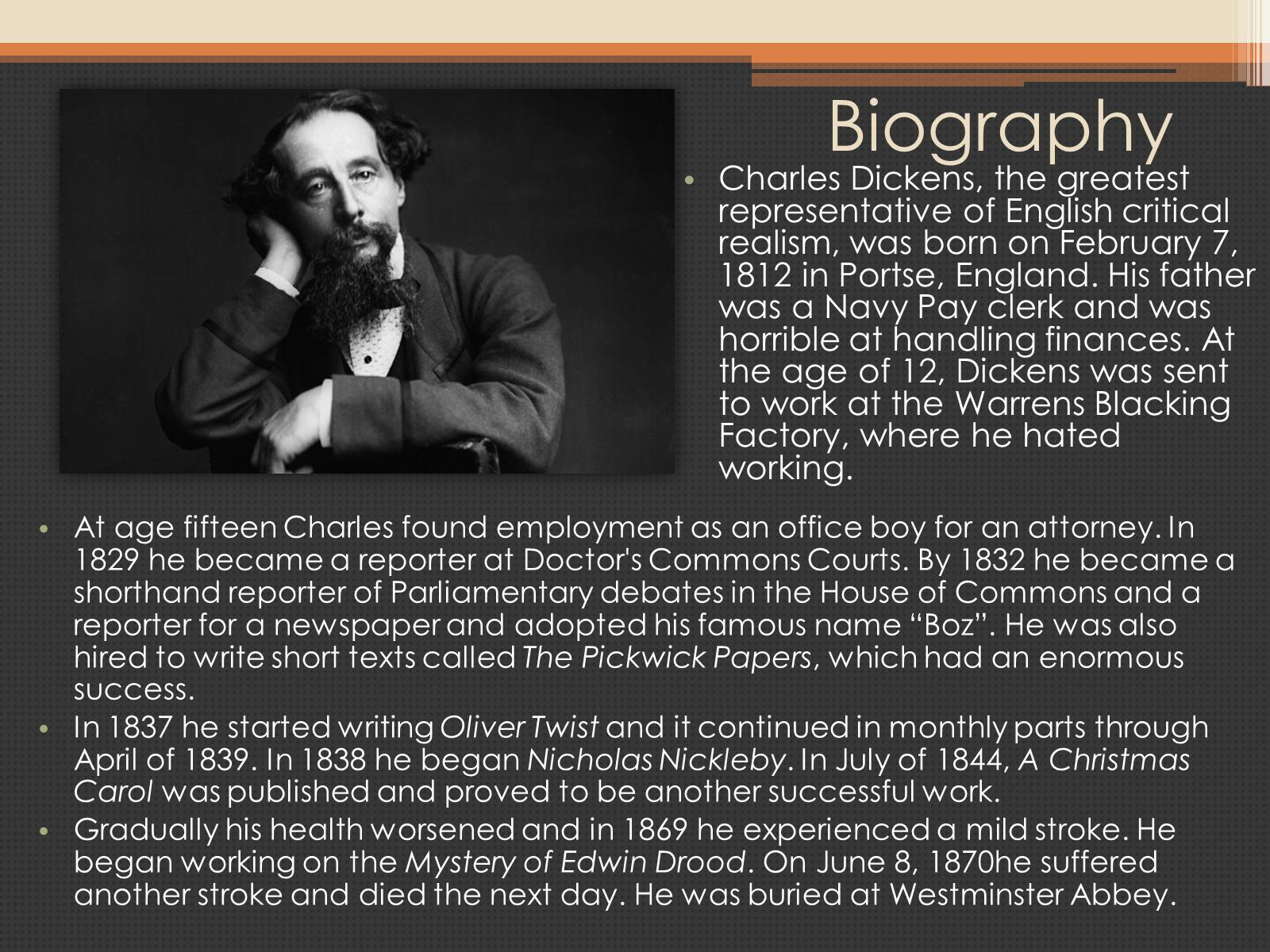 biography of charles dickens Most of of charles dickens' novels were written in an episodic manner, reflecting their publication as serial fiction it was a short biography of jesus christ however, dickens also criticized aspects of organized religion, and viewed religious hypocrisy as contradictory to the true spirit of christianity.