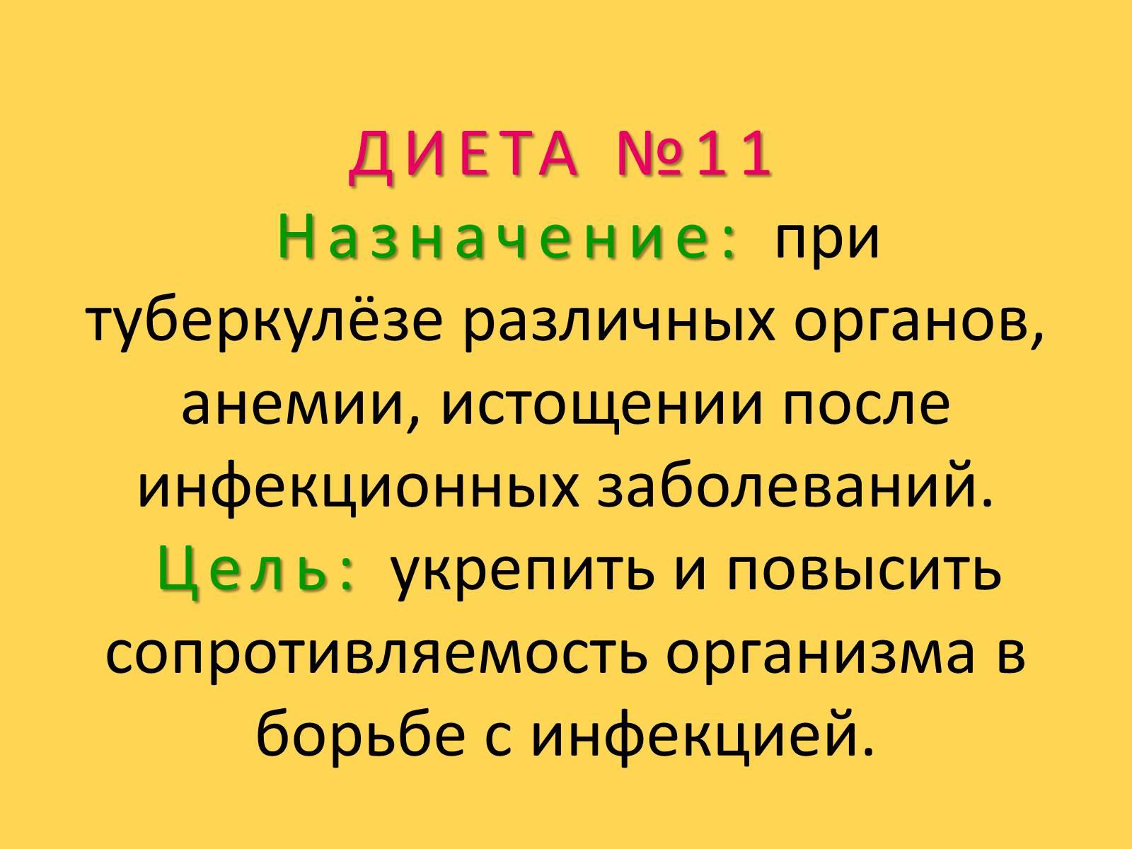 Диета Номер 11 Назначается При
