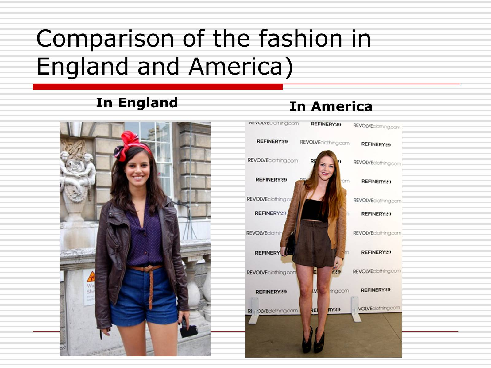 Презентація на тему «Comparison of the fashion in England and America» - Слайд #7