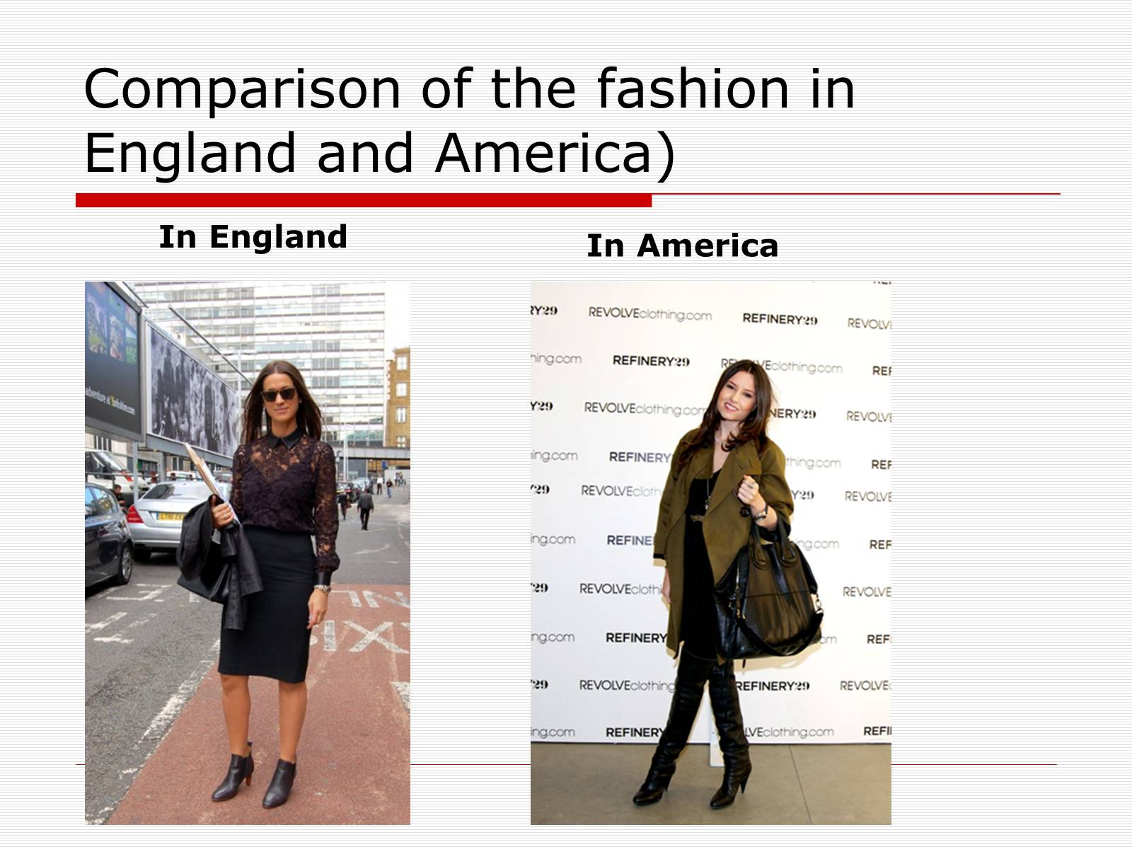Презентація на тему «Comparison of the fashion in England and America» - Слайд #8