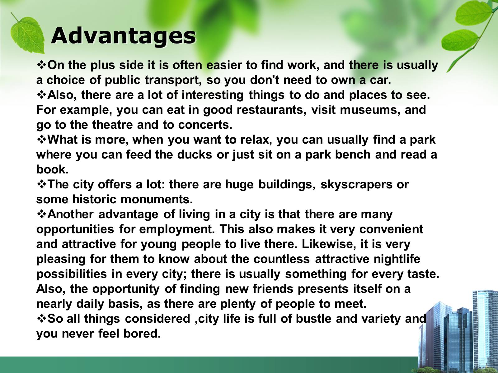 disadvantages of city life essays