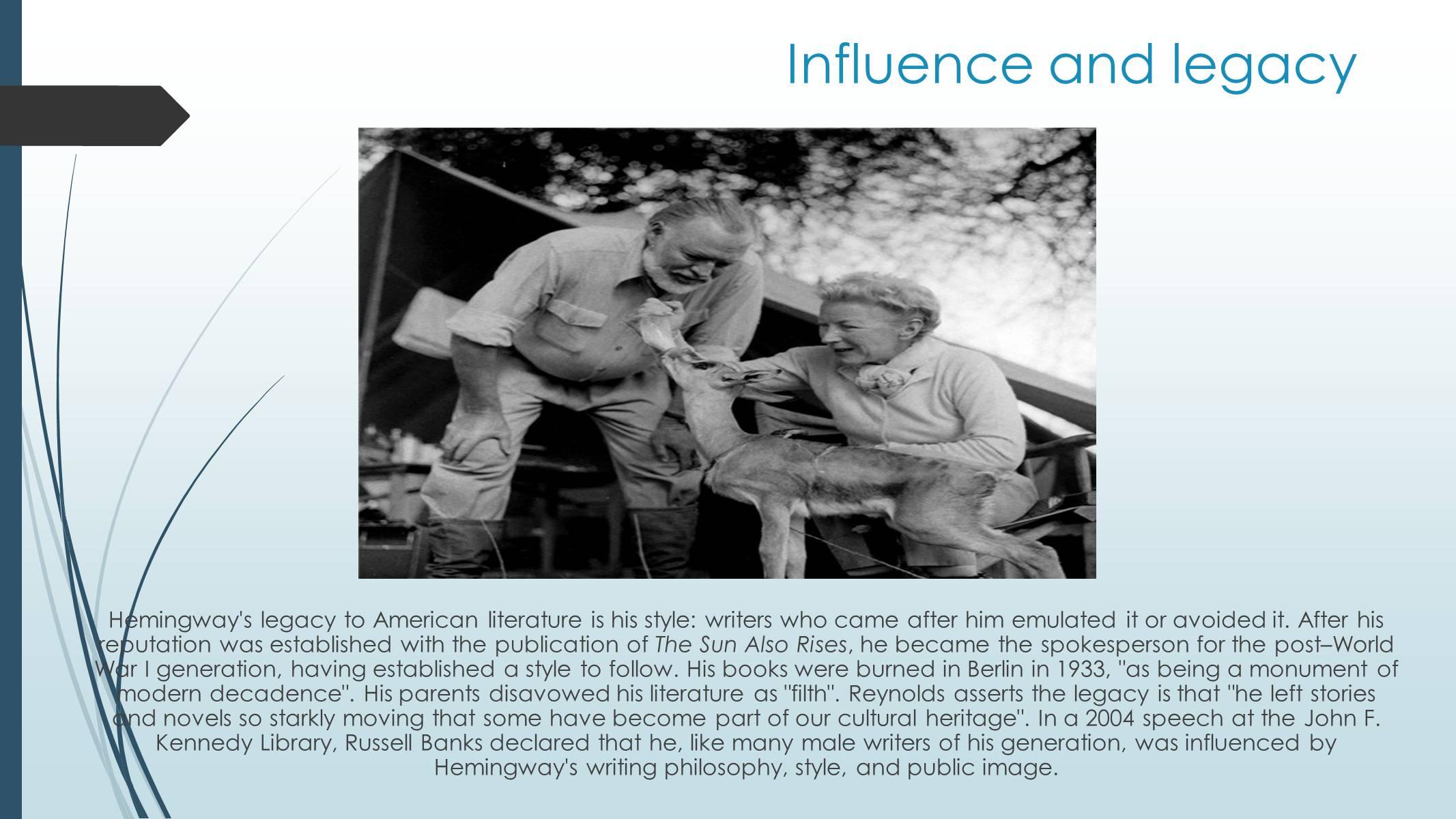 ernest hemingway a legacy for american